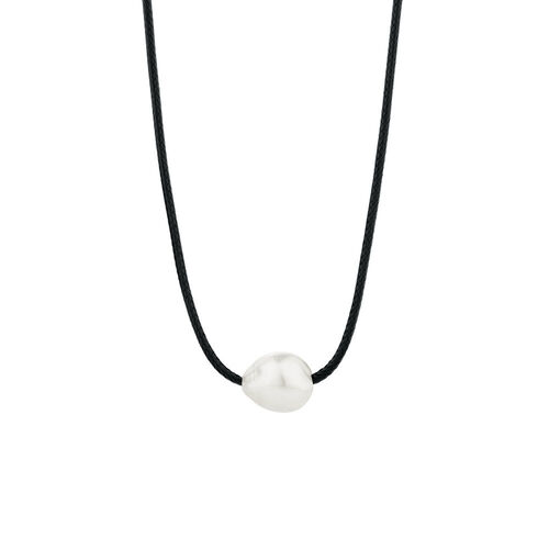 Adjustable Black Cord Necklace with Cultured Freshwater Pearl