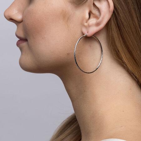 45mm Twist Hoop Earrings in Sterling Silver