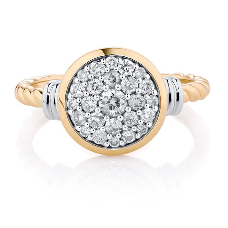 Stacker Ring with 1/2 Carat TW of Diamonds in 10ct Yellow & White Gold