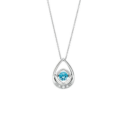 Everlight Pendant with Blue Topaz & Diamonds in Sterling Silver