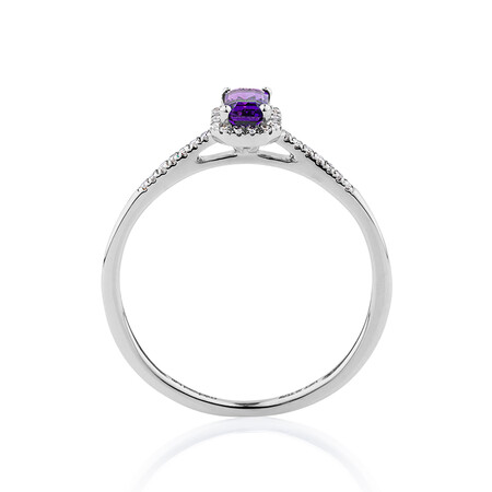 Ring with Amethyst & Diamonds in 10ct White Gold