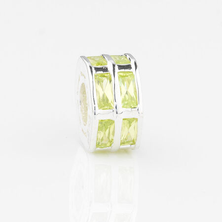 Online Exclusive - Hexagonal Charm with Green Cubic Zirconia in Sterling Silver