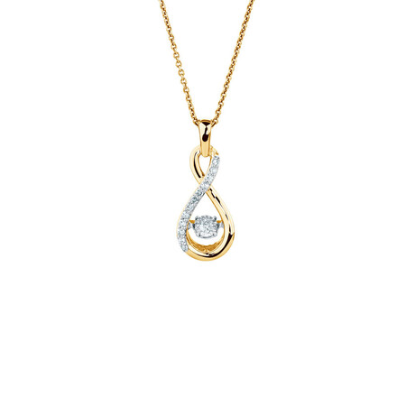 Everlight Pendant with Diamonds in 10ct Yellow Gold
