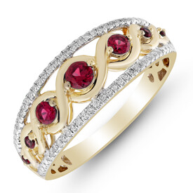 Ring with Created Ruby & 0.15 Carat TW of Diamonds in 10ct Yellow Gold