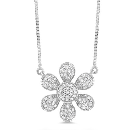 Flower Necklace with 0.16 Carat TW of Diamonds in 10ct White Gold