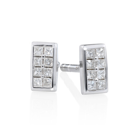 Bar Stud Earrings with 0.10 Carat TW of Diamonds in Sterling Silver