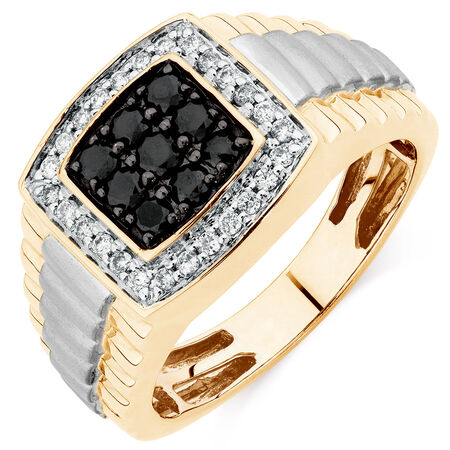 Men's Ring with 3/4 Carat TW of White & Enhanced Black Diamonds in 10ct Yellow & White Gold