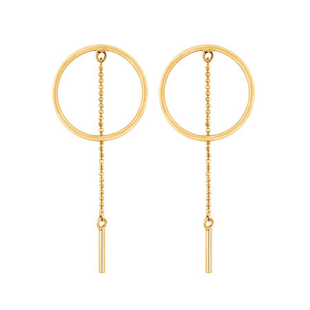 Circle & Bar Drop Earrings in 10ct Yellow Gold
