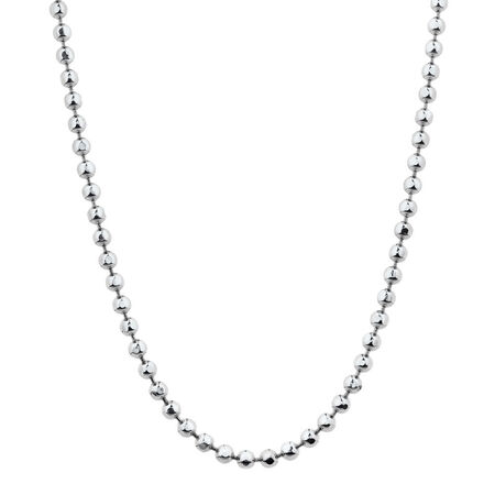"60cm (24"") Faceted Ball Chain in Sterling Silver"