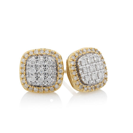 Earrings with 0.33 Carat TW of Diamonds in 10ct Yellow Gold