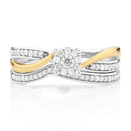 Bridal Set with 0.33 Carat TW of Diamonds in 10ct White & Yellow Gold