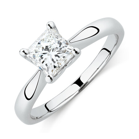 Certified Solitaire Engagement Ring with 1 Carat TW Diamond in 18ct White Gold
