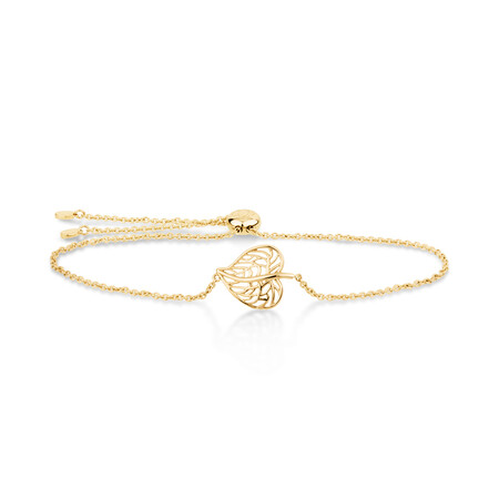 Heart Leaf Slider Bracelet in 10ct Yellow Gold