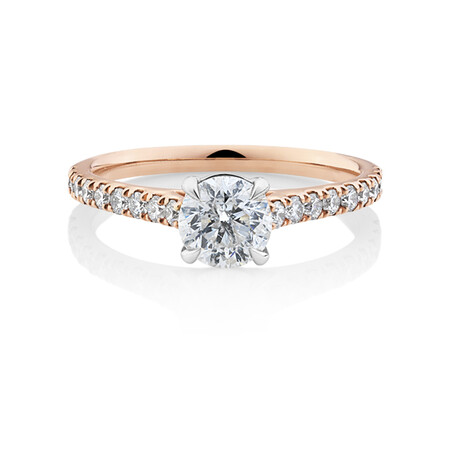 Solitaire Engagement Ring with 1.25 Carat TW of Diamonds in 14ct Rose & White Gold