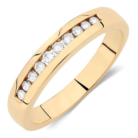 Online Exclusive - Men's Wedding Band with 1/4 Carat TW of Diamonds in 10ct Yellow Gold