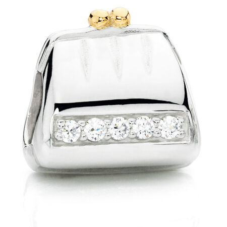 Cubic Zirconia & Sterling Silver Purse Charm