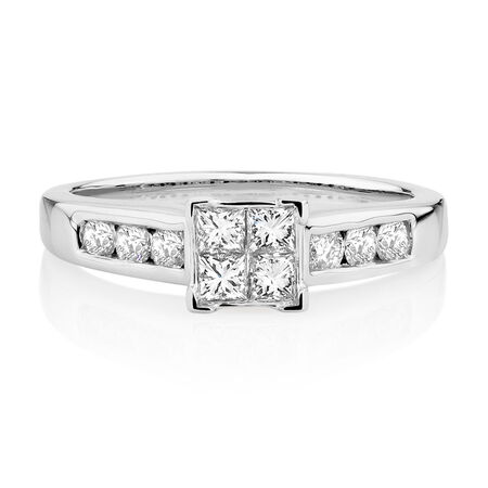 Engagement Ring with 0.64 Carat TW of Diamonds in 14ct White Gold