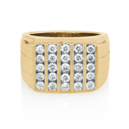 Men's Ring with 1.45 Carat TW of Diamonds in 10ct Yellow Gold