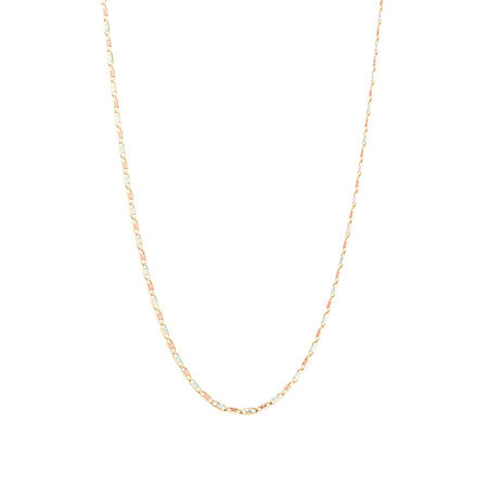 """50cm (20"""") Chain in 10ct Yellow, Rose & White Gold"""