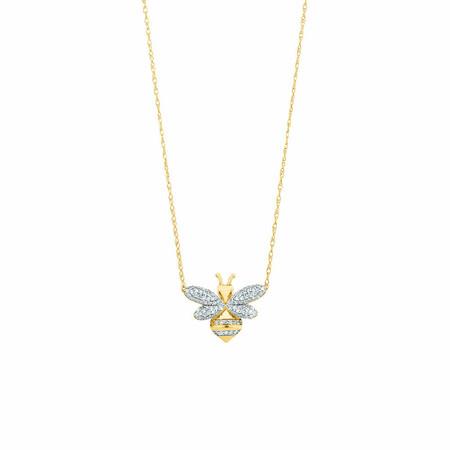 Bee pendant with 0.16 Carat TW Diamonds in 10ct Yellow Gold