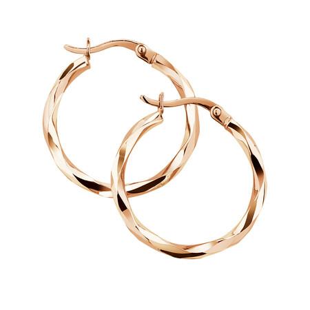 18mm Twist Hoop Earrings in 10ct Rose Gold