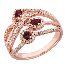 Ring with Ruby & 0.46 Carat TW of Diamonds in 10ct Rose Gold