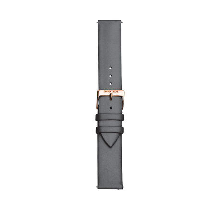 Large Watch Strap in Grey Leather & Rose Tone Stainless Steel