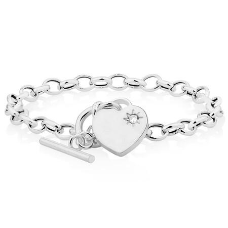 """19cm (7.5"""") Belcher Bracelet with Cubic Zirconia in Sterling Silver"""
