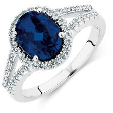 Ring with a Created Sapphire & Diamonds in 10ct White Gold