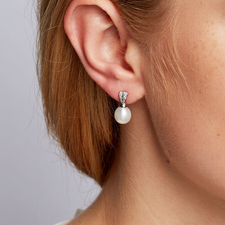 Drop Earrings with Cultured Freshwater Pearl & Cubic Zirconia in Sterling Silver