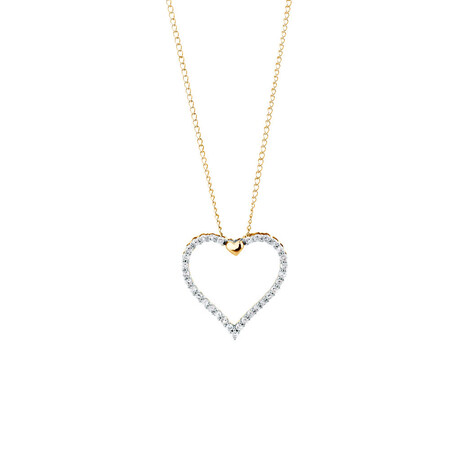 Heart Pendant with 0.15 Carat TW of Diamonds in 10ct Yellow Gold