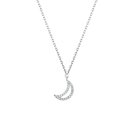Half Moon Pendant With Diamonds In 10ct White Gold