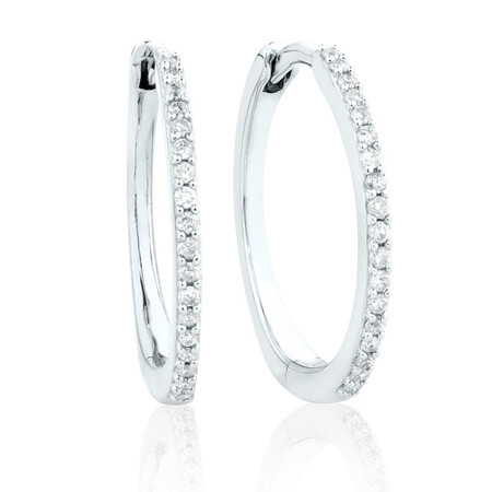Small Huggie Earrings in 10ct White Gold With 0.18 Carat TW of Diamonds