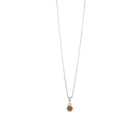 Pendant with Morganite Cubic Zirconia in Sterling Silver