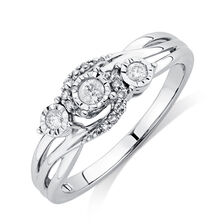 Three Stone Promise Ring with 0.16 Carat TW of Diamonds in 10ct White Gold