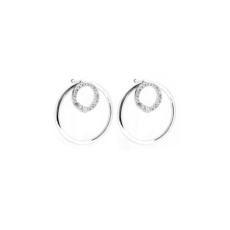 Double Circle Earrings with 1/6 Carat TW of Diamonds in 10ct White Gold