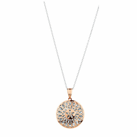 Round Pendant in 10ct Rose & White Gold