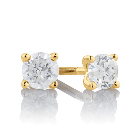 Stud Earrings with 0.50 Carat TW of Diamonds in 14ct Yellow Gold