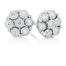 Cluster Stud Earrings with 0.18 Carat TW of Diamonds in Sterling Silver
