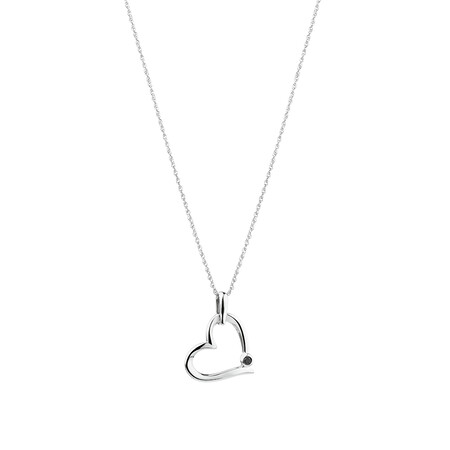 Heart Pendant with Natural Black Sapphire in Sterling Silver