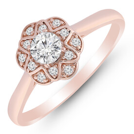 Ring with 0.38 Carat TW of Diamonds in 10ct Rose Gold