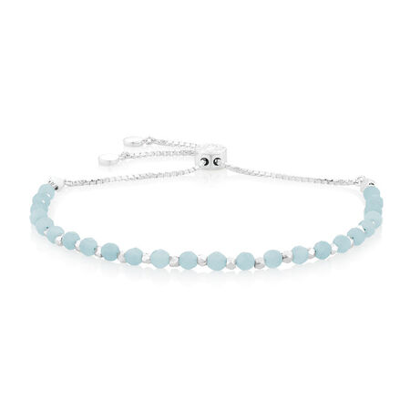 """19cm (7.5"""") Adjustable Bracelet with Amazonite in Sterling Silver"""