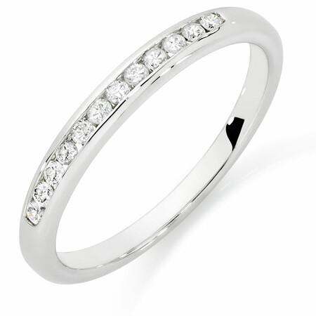 Wedding Band with 0.15 Carat TW of Diamonds in 10ct White Gold