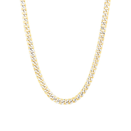 "55cm (22"") Curb Chain in 10ct Yellow & White Gold"