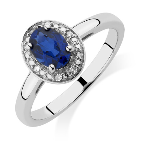 Halo Ring with Created Sapphire & Diamonds in Sterling Silver