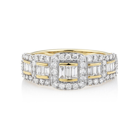 Ring With 0.60 Carat TW Diamonds In 10ct Yellow Gold