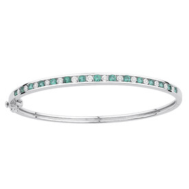 Bangle with Created Emerald & Diamonds in Sterling Silver
