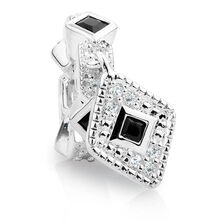 Black Cubic Zirconia & Sterling Silver Art Deco Drop Charm