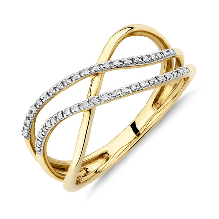 Crossover Ring with Diamonds in 10ct Yellow Gold