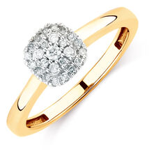 Promise Ring with 0.15 Carat TW of Diamonds in 10ct Yellow Gold